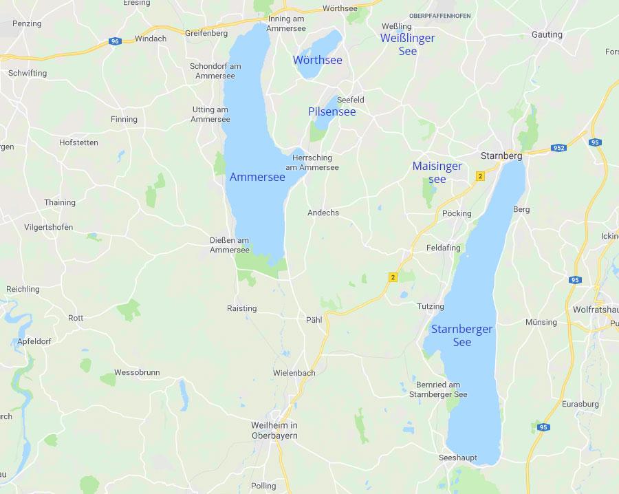 Das 5 Seen Land: Ammersee, Wörthsee, Pilsensee, Weißlinger See, Starnberger See